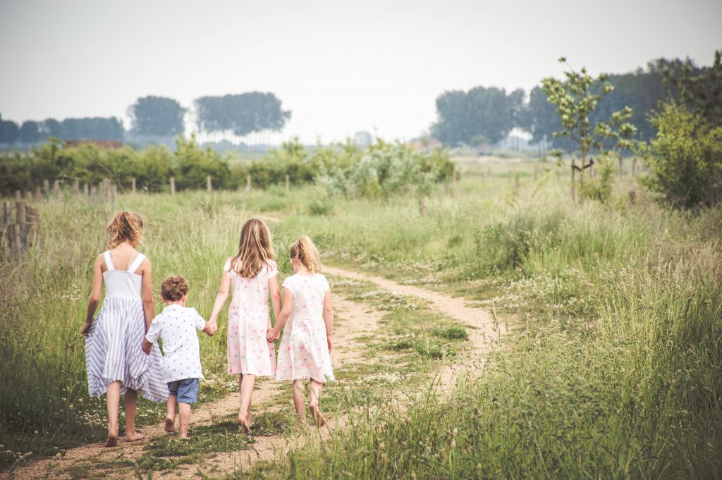 Familie fotoshoot, vier kinderen